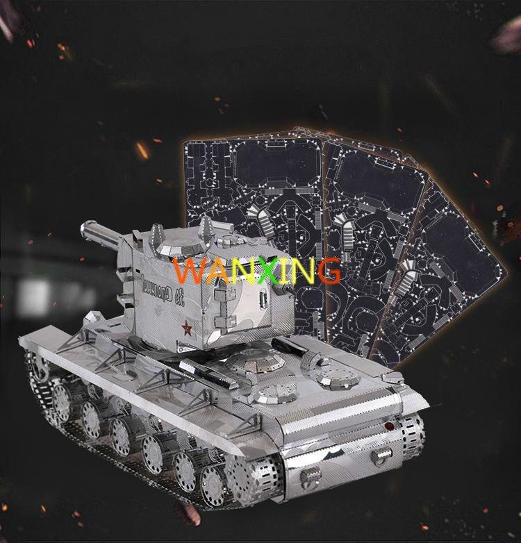 1/48 auto-verrouillage échelle modèle 3D métal modèle bricolage Kit d'assemblage KV-02 Super réservoir gratuit jouets pour enfants expédition