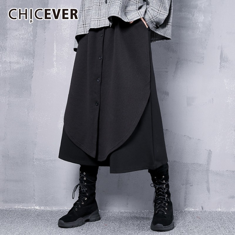 CHICEVER 2018 Autumn Winter   Wide     Leg     Pants   Female Elastic High Waist Casual Loose Ankle Length   Pants   For Women Fashion Tide