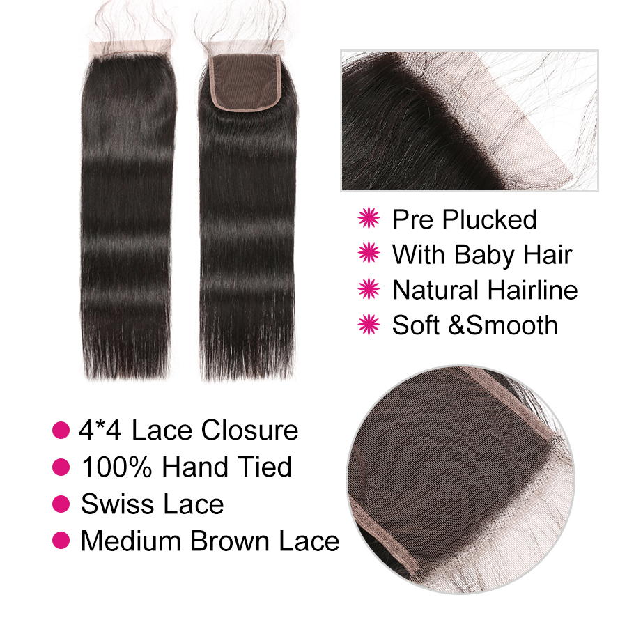 Image 4 - Straight Hair Bundles With Closure Brazilian Hair Weave Bundles With Closure Human Hair Bundles With Closure Mslynn Remy Hair-in 3/4 Bundles with Closure from Hair Extensions & Wigs