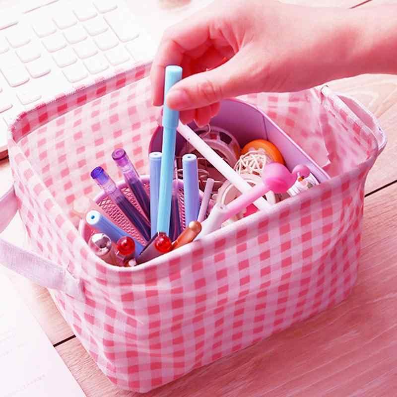 Thuis Katoen Opslag Mand Meisje Schattige Roze Plaid Kamer Desktop Diversen Opbergdoos Cosmetische Speelgoed Pop Organisator Mand