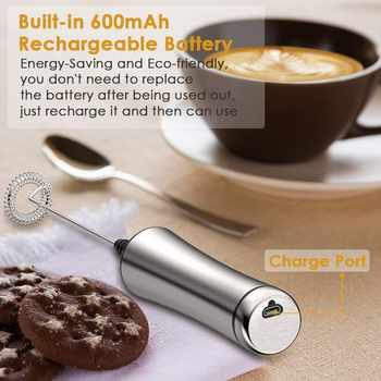 REELANX Electric Milk Frother Rechargeable Milk Foamer for Cappuccino Coffee Foam Egg Beater