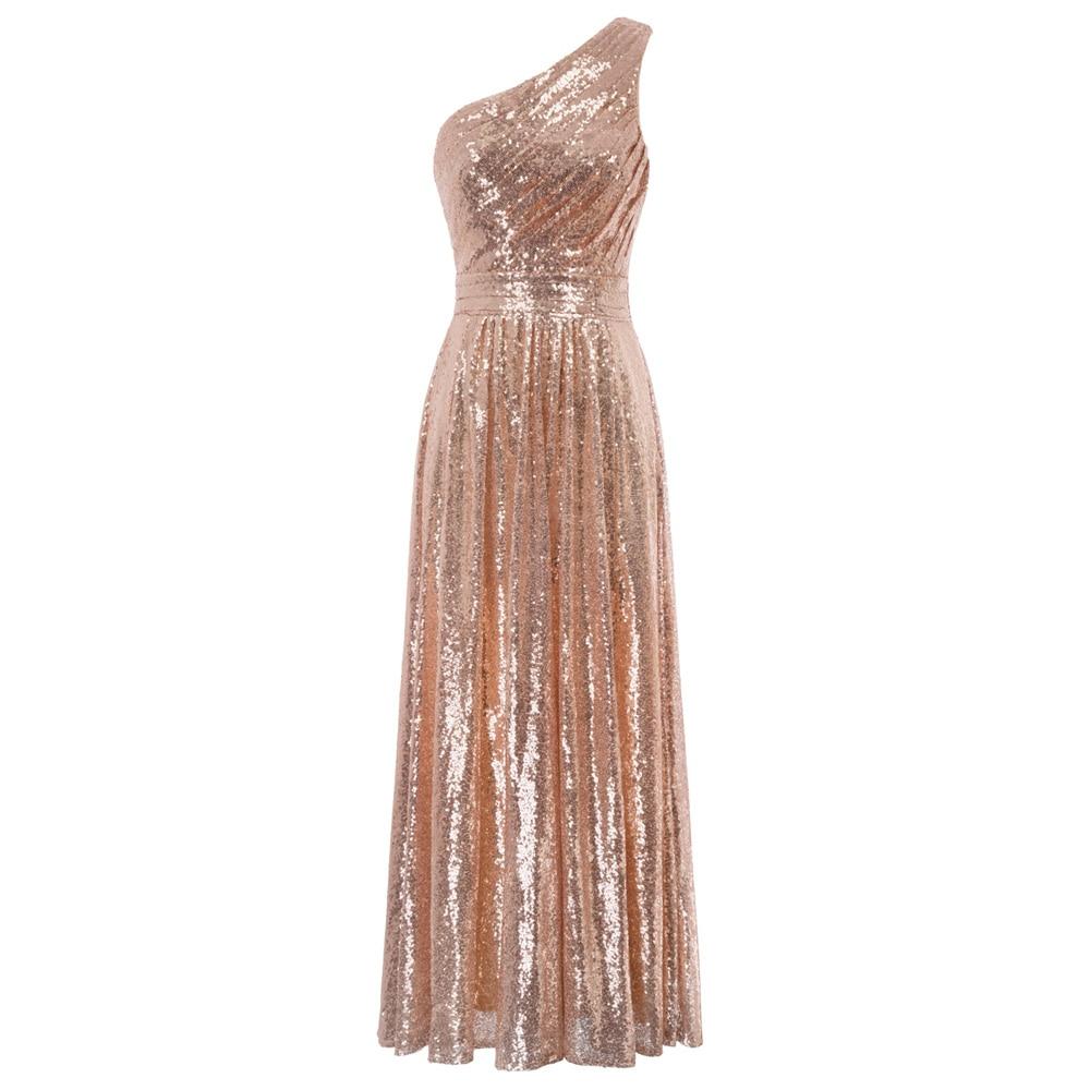 Robes de soirée d'affaires de luxe femmes été superbe paillettes une épaule or rose robe longue soirée robe de célébrité