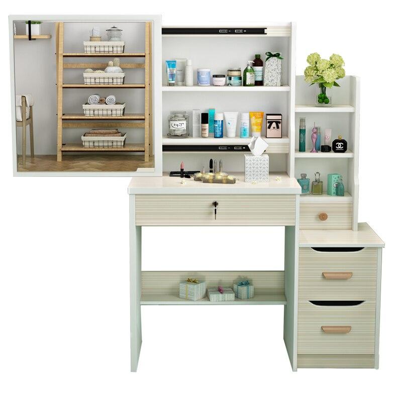 Mdf Vanity Table Makeup Box Comoda Para Coiffeuse Avec Miroir Set Wooden Quarto Penteadeira Korean Bedroom Furniture Dresser