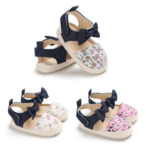 Newborn Toddler Baby Girls Summer Bowknot Soft Sole Shoes Floral Crib Prewalker Shoes Suitable For 0-18 Months
