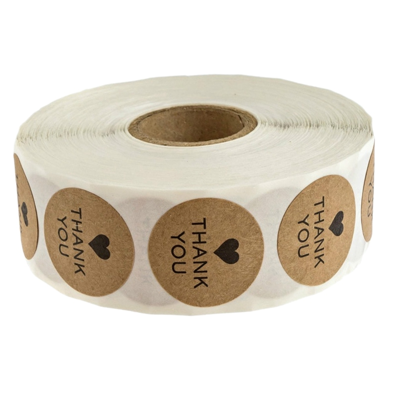Round Kraft Wedding Thanks Decor Stickers Student Stickers Thank You Stickers/500 Labels Per Roll
