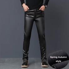 #2201 Winter PU Faux Leather Pants Men Windbreak Waterproof Motorcycle High Elastic Tight PU Leather Trousers Mens Plus Size