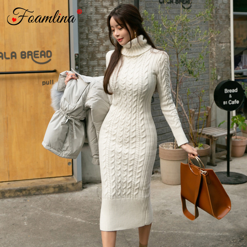 4d5d8a24e0cd Foamlina 2018 Winter Dress Turtleneck Twist Knitted Bodycon Dress Women  Long Sleeved Slim Stretch Back Slit
