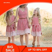 Family Dresses Matching Outfits Clothes For Mother And Kid Girls Summer Mum Daughter Red Striped Lace Dress