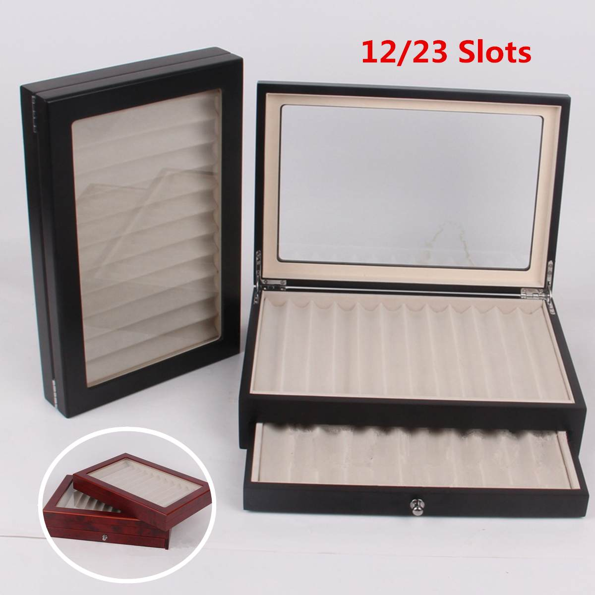 12/30 Pen Fountain Wood Display Case Holder Wooden Pen Box Storage Collector Organizer Box Black