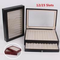 12/30 Pen Fountain Wood Display Case Holder Wooden Pen box Storage Collector Organizer Box Black