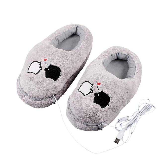 1 paia USB Riscaldamento Elettrico Slipper Riscaldata Scarpa Peluche Grigio con