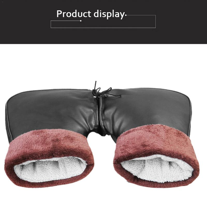 Electric Vehicle Handle Sleeve Thickening Motorcycle Wear Resistant PU Cotton Leather Windbreak Cold Proof Mitts For Unisex in Gloves from Automobiles Motorcycles