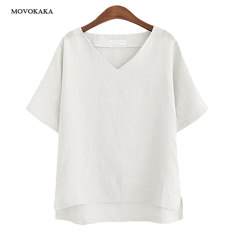 aa469decb17d43 New Fashion V neck T Shirt Women Flax Basic Female TShirt Summer White Sexy  TShirt Women Cotton Vintage Loose Thin T Shirts XXXL-in T-Shirts from  Women's ...
