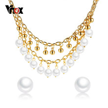 Vnox Elegant Women Jewelry Set Choker Necklace Stud Earring Imitation Pearls Charms Gold Color Stainless Steel Chain Beads Party(China)
