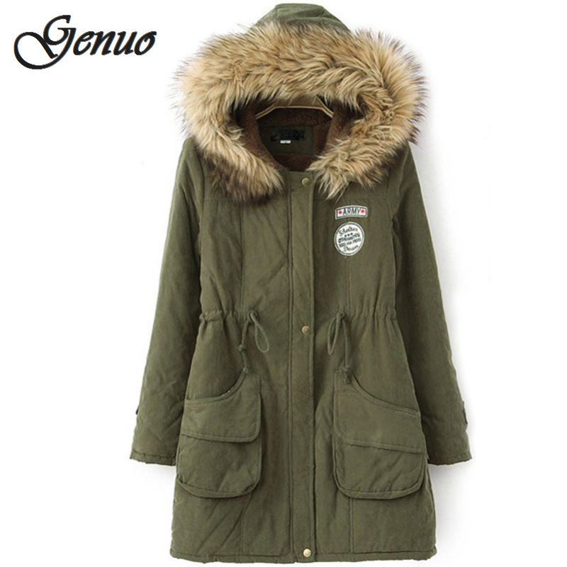 Winter Warm Coat Women Long   Parkas   Fashion Faux Fur Hooded Womens Overcoat Casual Cotton Padded Jacket Colors