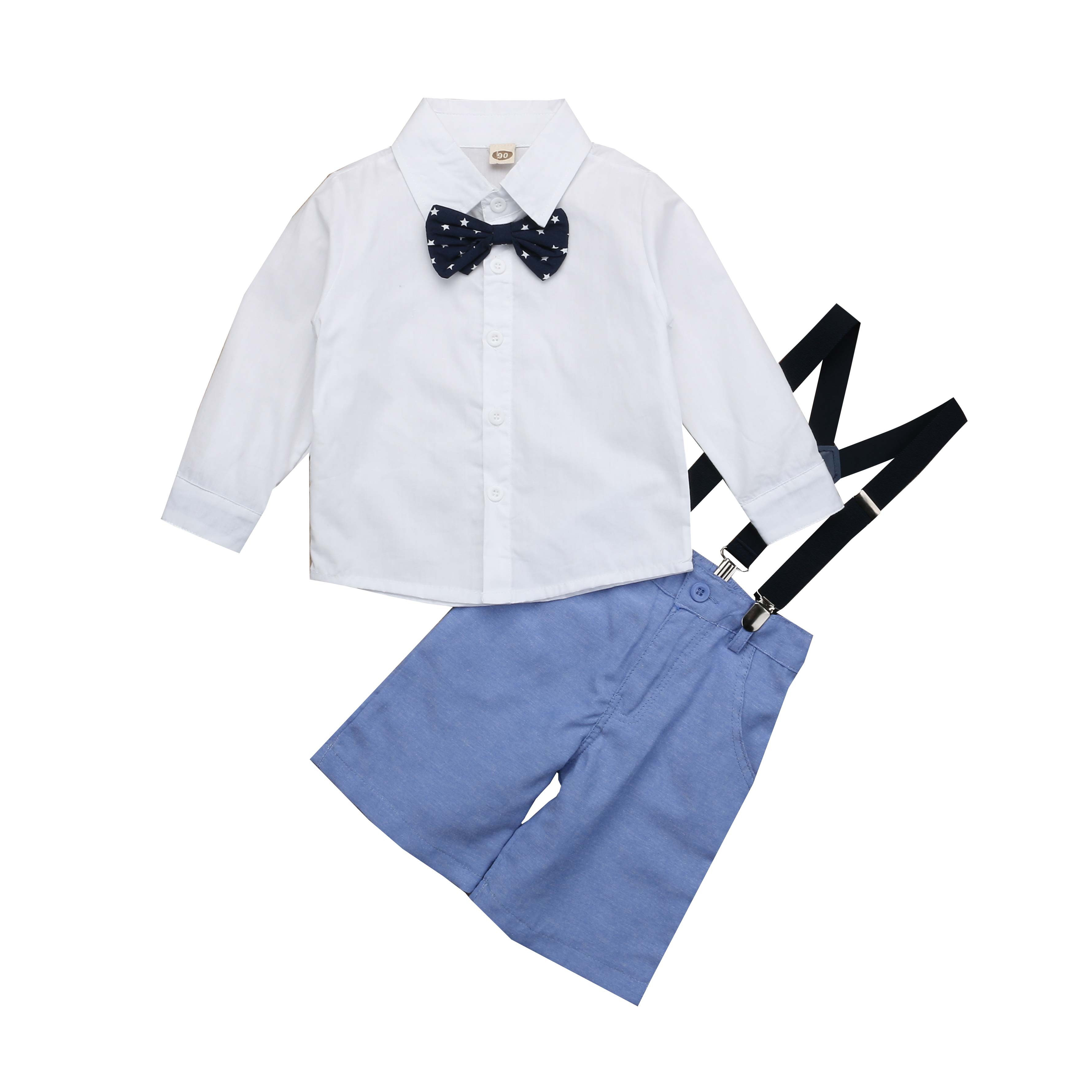 2019 Newest Style Kid Toddler Baby Boy White Long Sleeve Top+bib Pants Spring Autumn Outfits Clothes Set Gentleman Size 2-7years Colours Are Striking