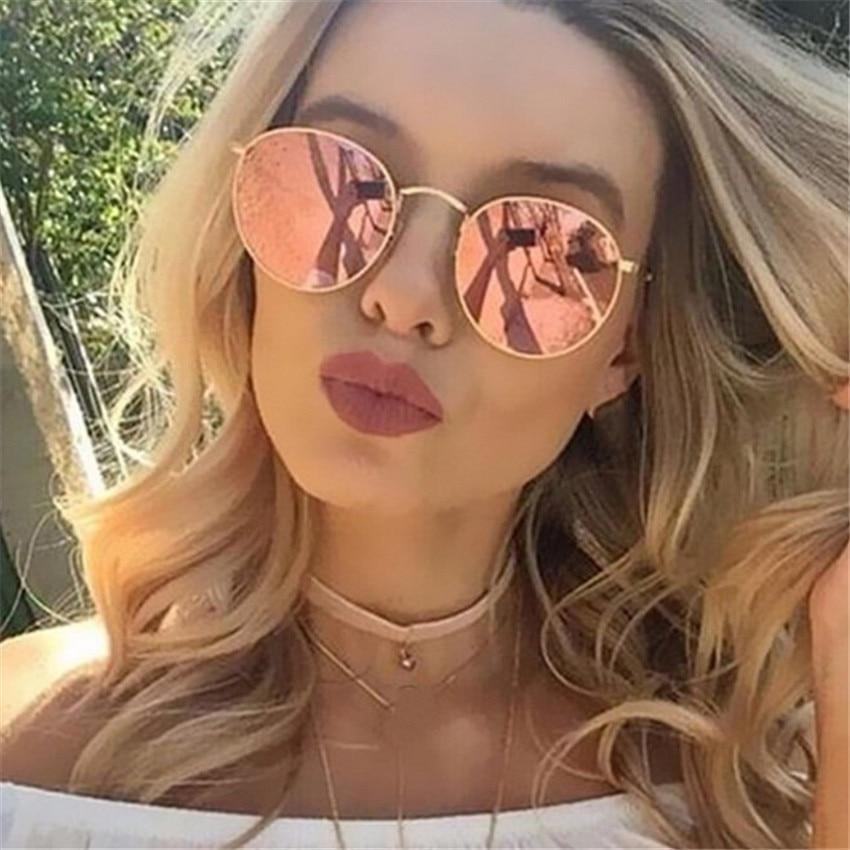 Metal Round Frame Sunglasses Women Mirror Sun Glasses Coatin