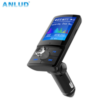 ANLUD Color Monitor FM Transmitter Bluetooth font b Car b font Kit Quick Charge Dual USB