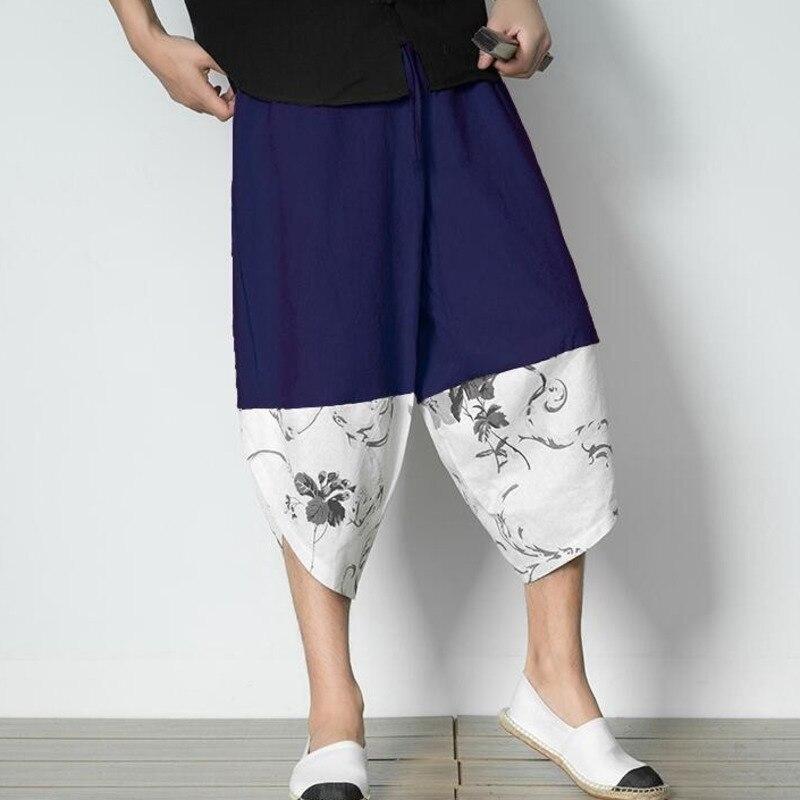 #4570 Zomer Strand Katoenen Linnen Broek Mannen Retro Chinese Elastische Taille Bloemenprint Plus Size 5xl Streetwear Linnen Harembroek Broek Verlichten Van Reuma En Verkoudheid