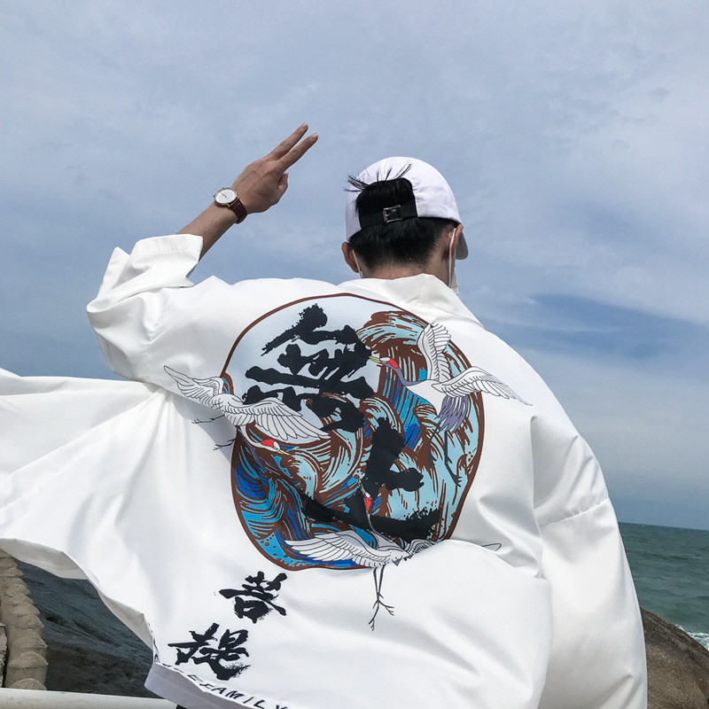 #4237 Sunscreen Japanese Streetwear Kimono Jacket Cardigan Coat Men Black/White Loose Windbreaker Thin Hip Hop Jacket Male Retro
