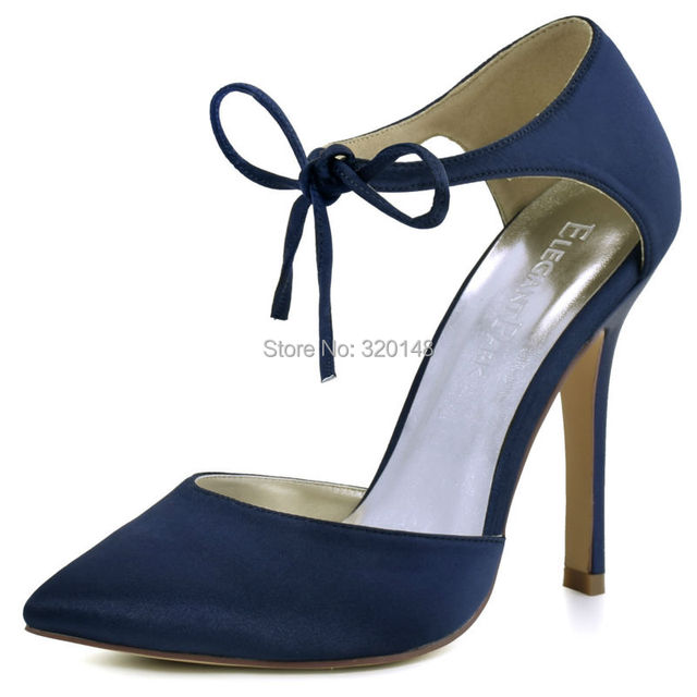 df9bd44640da2 Woman High Heel Prom Evening Pumps Pink Navy Blue Ankle Strap Ribbon Tie  Satin Bridesmaids Wedding