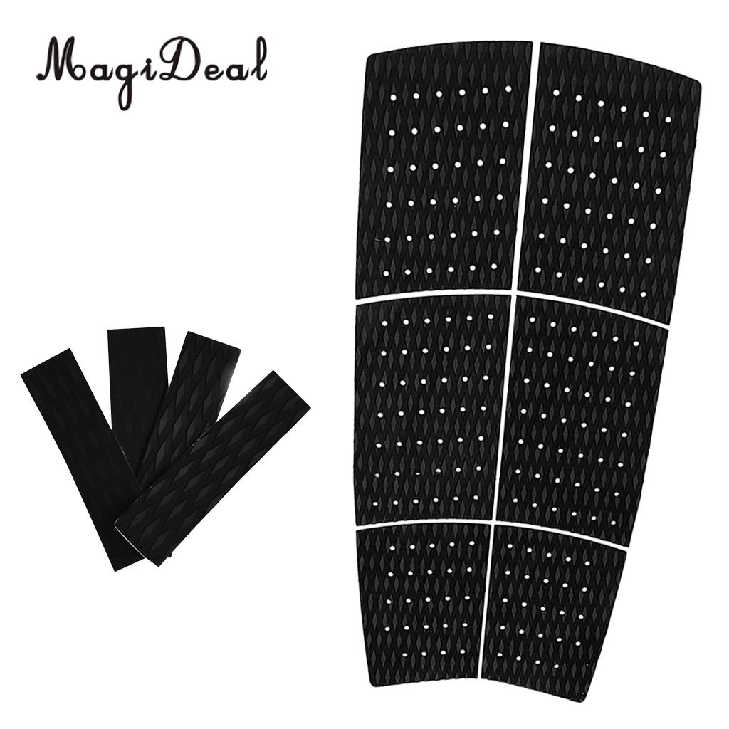 6x Premium Black EVA SUP Front Foot Traction Pad, 4 Tail Pad Deck Grip for Water Sports Surfboard - Anti-skid Adhesive цены