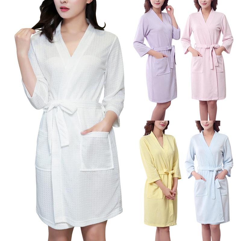 Lady's Waffle Bathrobe Sleepwear Pajamas Nightwear Cardigan Robe Bathrobe for Women