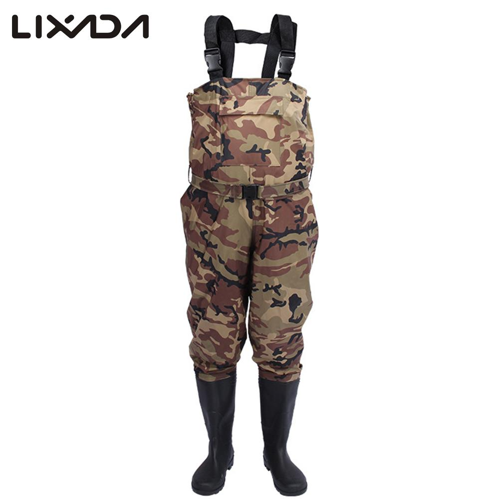Lixada Fishing Cloth Chest Nylon PVC Waterproof Fishing Wears with Extra large pocket rubber boots with