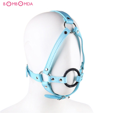 Leather Head Harness Sex Bondage Open Mouth Gag Restraint Penis Dildo Ring Adult Fetish Products Sex Games Toys for Women Men O3