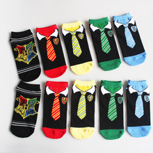 V-Hanver Fashion Cartoon Tie Patterned Short Socks Women Cute Funny Low Female Casual Cotton 3D Ankle Thin Summer