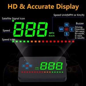 Image 2 - OHANEE A2 HUD 3.5 cala GPS wyświetlacz do samochodu alarm prędkości kompas szyby projektor prędkościomierz HUD przez satelity GPS