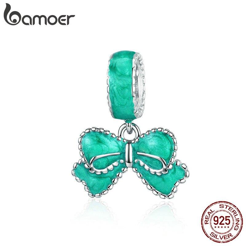 BAMOER Bowknot Pendant Fresh Color Enamel Pendant Women 925 Sterling Silver Charms Bracelet Bow Knot  Jewelry Gifts SCC1150