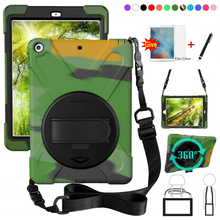 For New iPad 9.7 2017 2018 6th generation Tablet A1822 A1893 Kids Safe Shockproof Armor cover Hand Strap & Neck Strap+Glass+Pen
