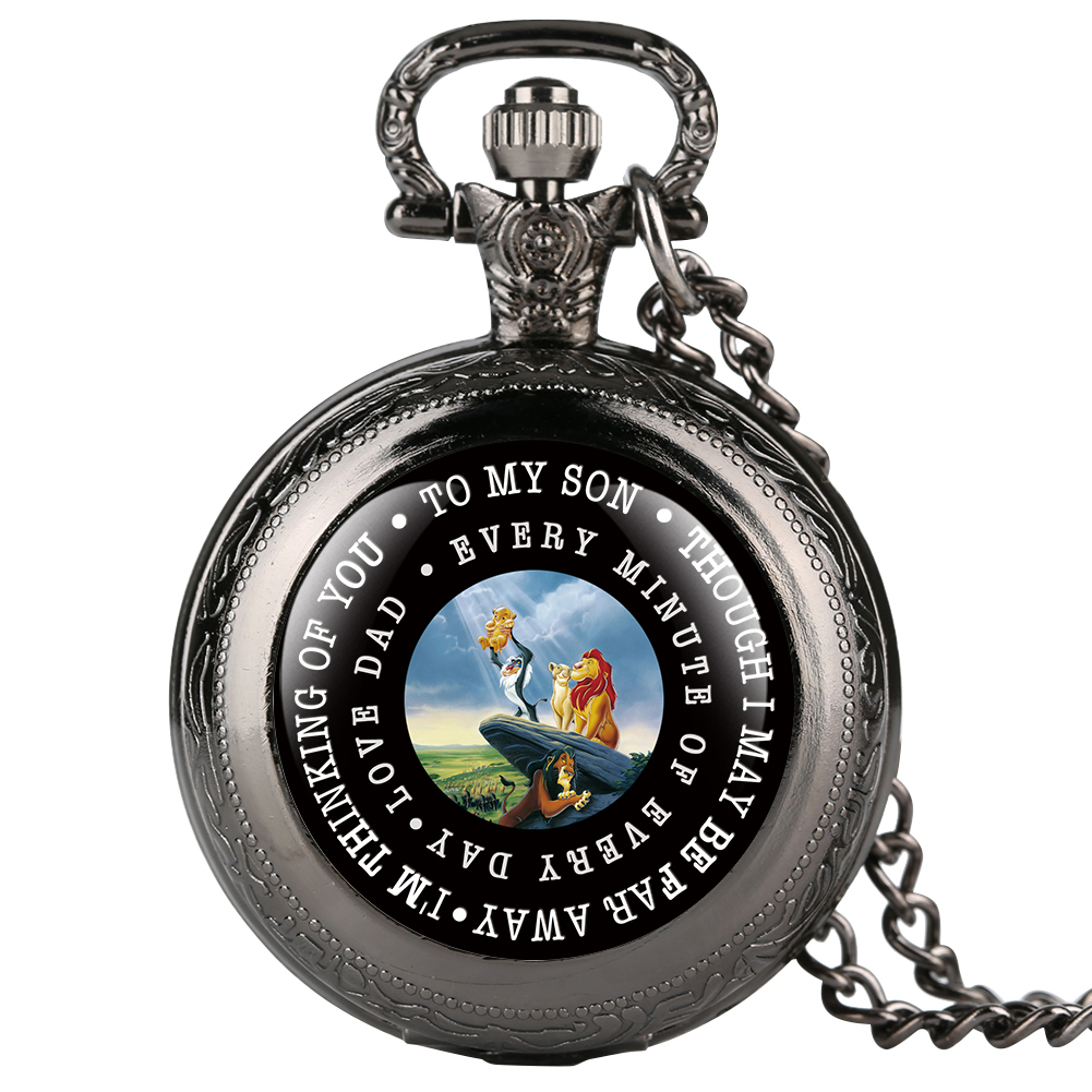 Necklace Round Pocket Watch For Boys Lion King Theme Quartz Pocket Watches For Child Elegant Pocket Watch For Teenagers Gift