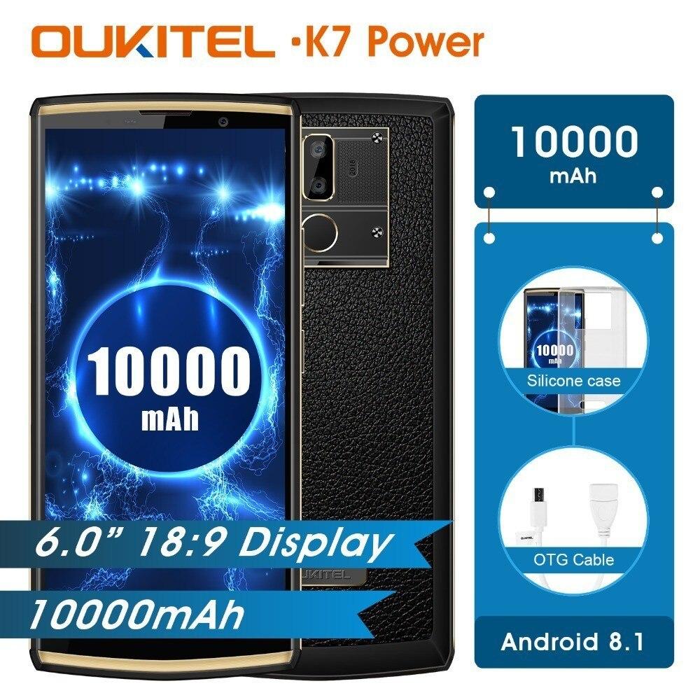 OUKITEL K7 Puissance 2g Ram 16g Rom téléphone portable Android 8.1 Mt6750t Octa Core 6.0