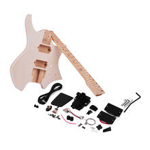Muslady Unfinished Electric Guitar DIY Kit Guitar Electric Basswood Body Maple Wood Fingerboard Guitar Neck Without Headstock