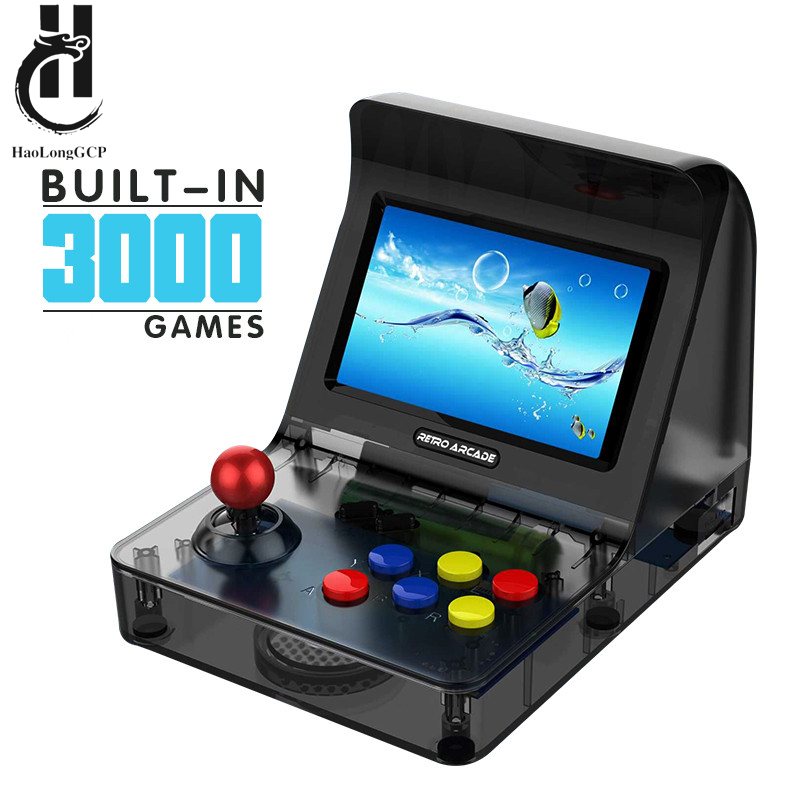 Portable Retro Arcade Mini Handheld Game Console 4.3 Inch 64bit build in 3000 Video Games with two gamepad Family Game Machine image