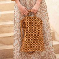 Hand knitted Handbag Girl's Natural Bamboo Wooden Bead Tote Vintage Beach Pouch Stylish Ladies Shopping Bag Summer Bags