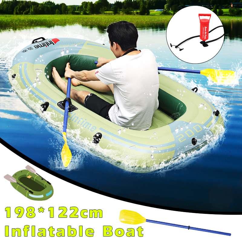 Sports bateau de pêche gonflable radeau PVC canot canot tendre 2/3/4 personne Kayak bateaux de pêche coussin bateaux à rames