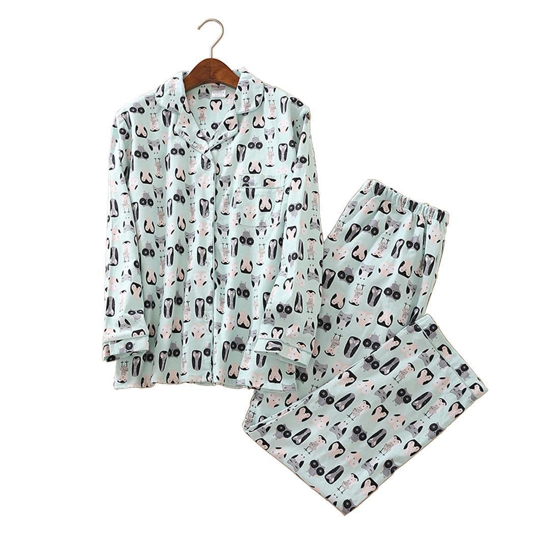 Women Turn Down Collar Long Sleeve Sleepwear Fashion Winter, Autumn Animal Print   Pajamas     Set   Full Length
