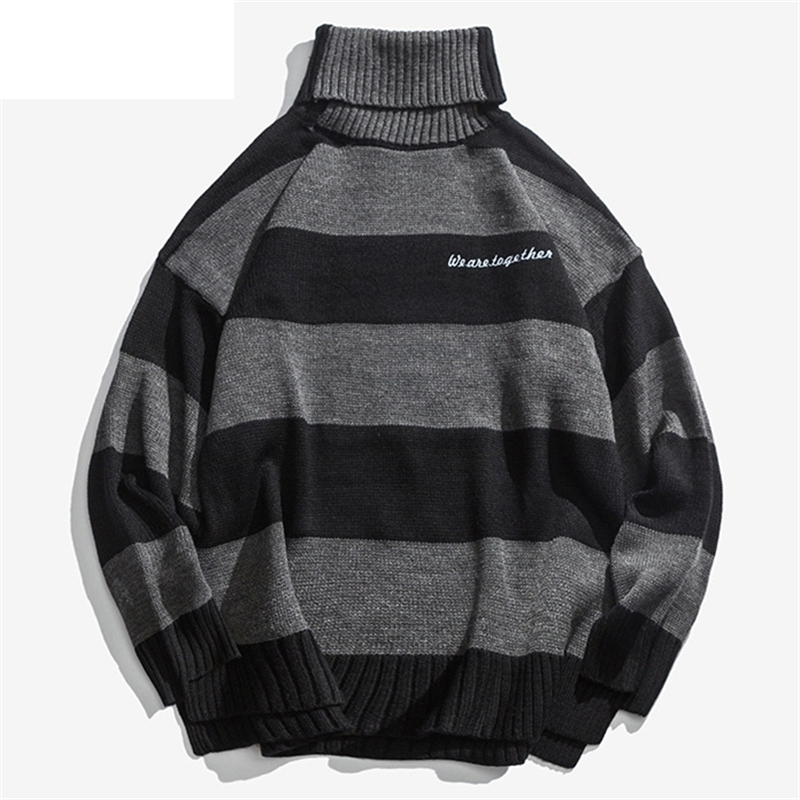 Striped Turtleneck Knitted Men Sweaters Autumn Hip Hop Quality Warm Pullover Top Streetwear Male Loose Clothing 2019 Q0308