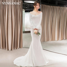 VENSANAC Scoop Neck Satin Sweep Train Mermaid Wedding Dresses Long Flare Sleeve Buttons Backless Bridal Gowns