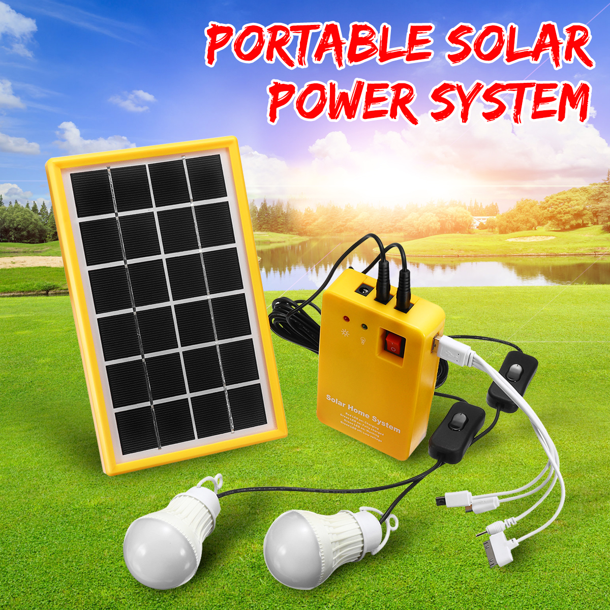 Solar Power Panel 5V USB Charger Home System with 3 LED Bulbs Light Generator Kit Indoor/Outdoor Lighting Over Discharge Protect solar panel power storage generator system led light usb charger portable home outdoor led lighting system support fm radio