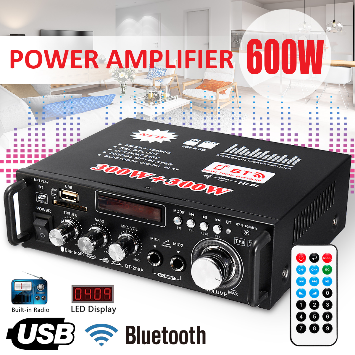 300W+300W 2 Channel HIFI Audio Stereo Power Amplifier bluetooth FM Radio Car Home Theater Amplifiers Music Player