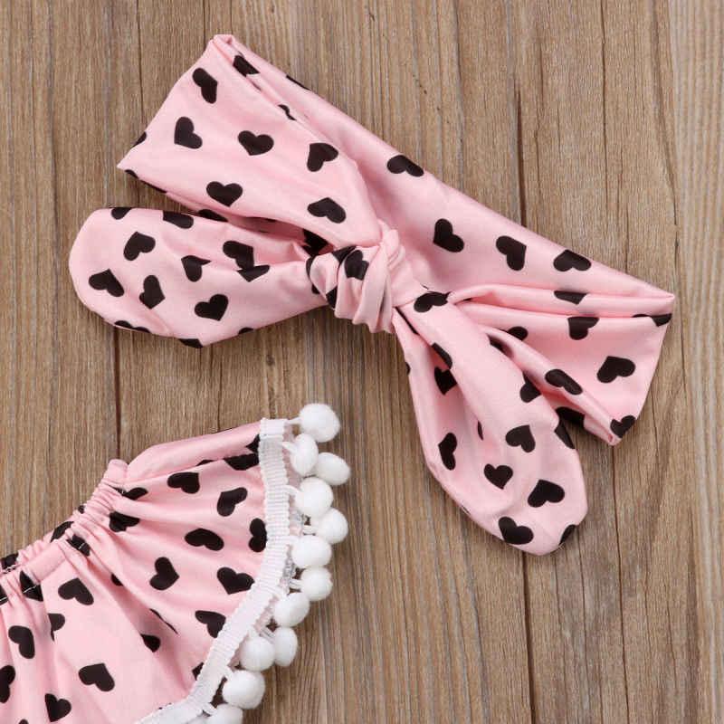 2 Pcs สีชมพูเสื้อผ้าเด็กผู้หญิงพู่รูปหัวใจพิมพ์ปิดไหล่เด็ก + Headband ฤดูร้อน New Born เสื้อผ้าเด็ก