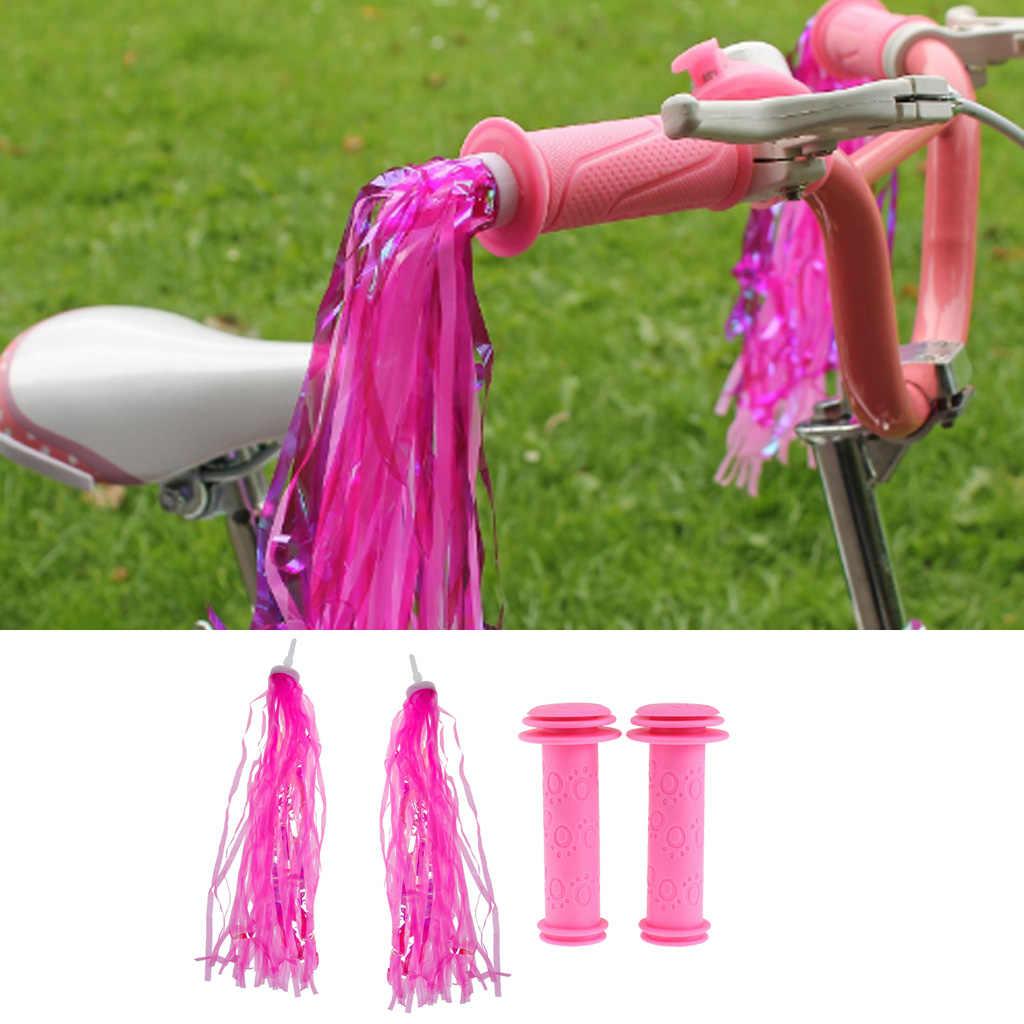 Dzieci kierownica rowerowa serpentyny skuter GripTassel wstążki + uchwyt uchwyty korki uchwyty rowerowe nosidełko dla dziecka akcesoria