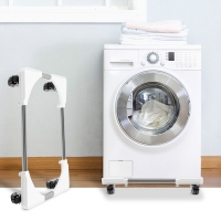 Mobile washing machine base bracket washing machine rack bracket shelf refrigerator base (4 double wheels) white