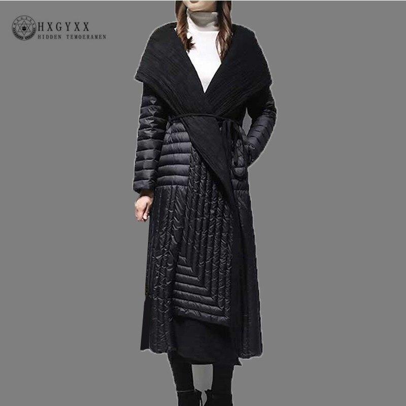 Patchwork Warm White Duck Feather Coat Long Winter Jacket Women Down Parka 2019 Plus Size Hooded Belt Goose Outerwear Okd706