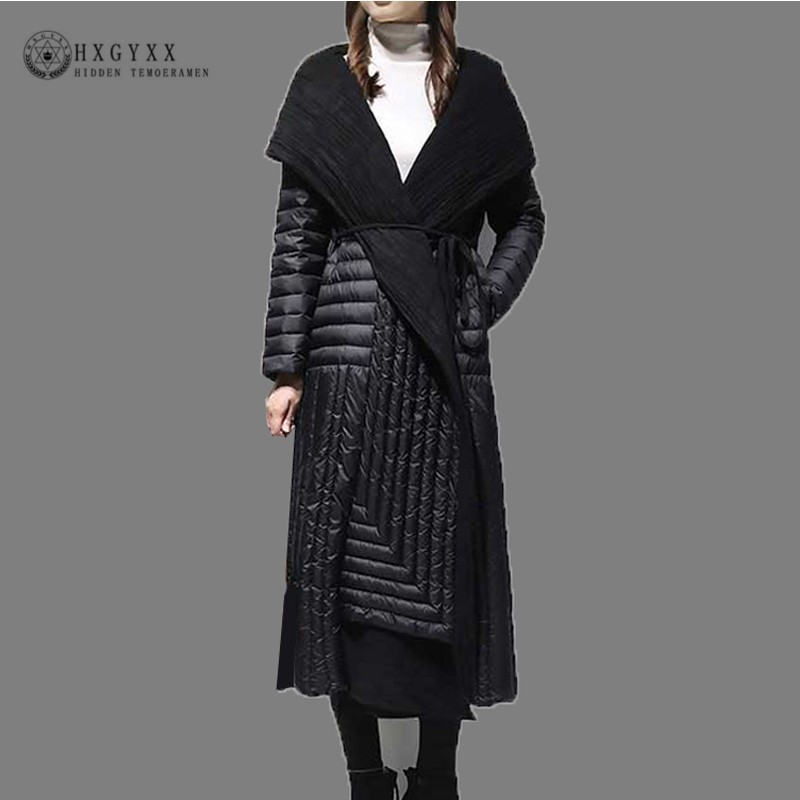 Patchwork Warm White Duck Feather   Coat   Long Winter Jacket Women   Down   Parka 2019 Plus Size Hooded Belt Goose Outerwear Okd706