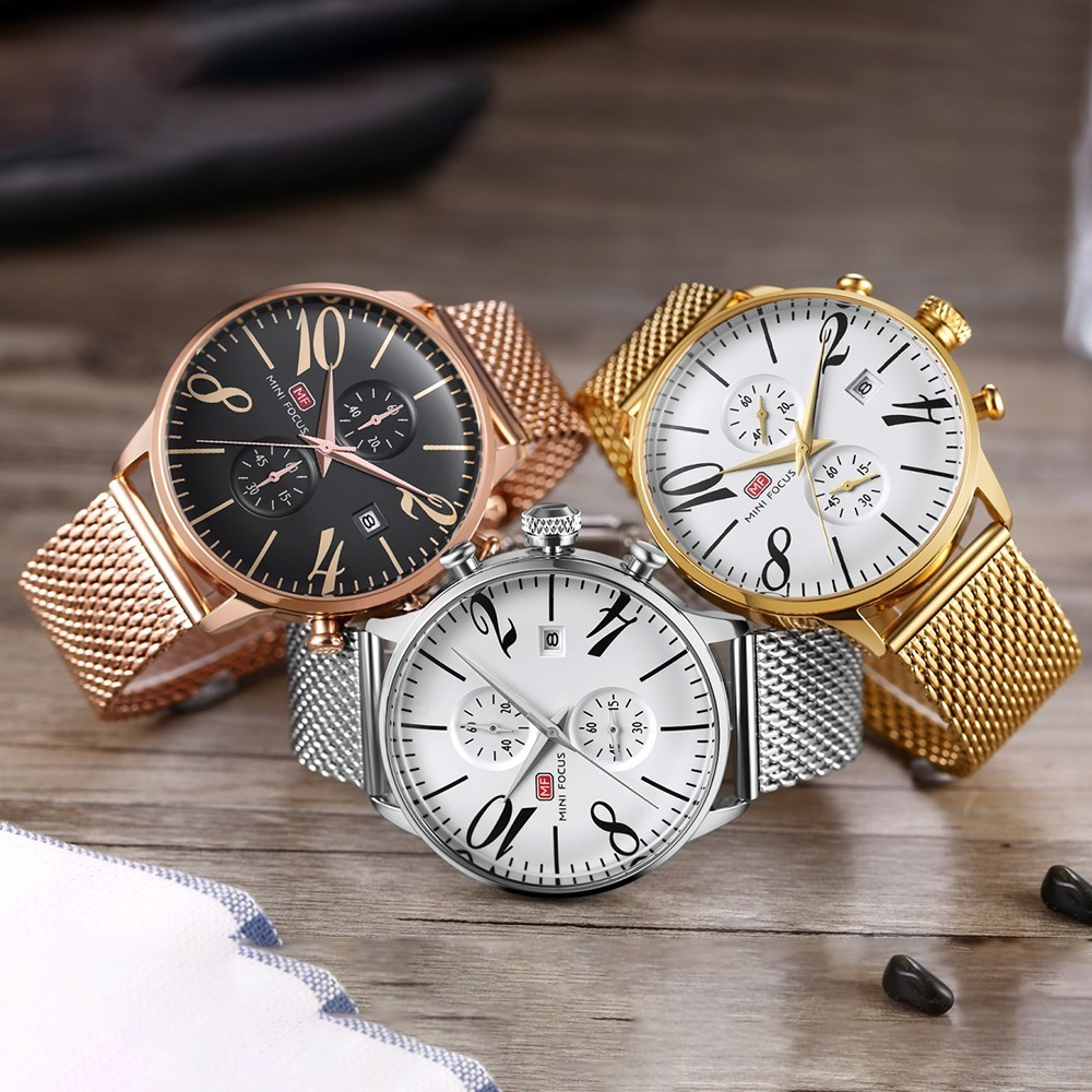 MINI FOCUS Top Brand Luxury Stainless Steel Wrist Watch Men Sports Watches Famous Male Clock Quartz Watch Mens Relogio Masculino in Quartz Watches from Watches
